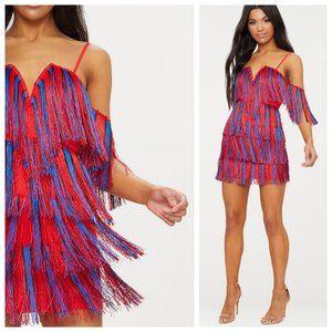 PLT Red & Blue Fringe Tassel Bardot V Plunge Dress